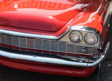 Classic Desoto front end. Classic red Desoto, distinctive front end royalty free stock images