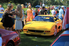 Classic yellow Ferrari F355 sports car at event Stock Photography