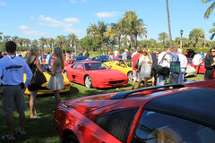 Classic red Ferrari F355 sports cars at event Stock Images
