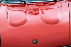 Classic red fiat sports car hood Stock Images