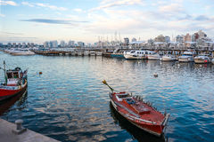 Classic Red Fishing boat in Punta del Este harbor, Uruguay. Maldonado, April 4, 2017 - Classic Red Fishing Boat moored in front of the yachts of the rich people Stock Photos