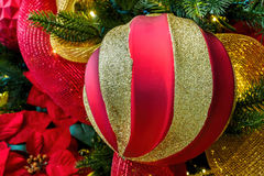 Classic red-gold Christmas bauble Stock Photography