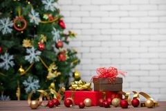 Classic red and golden gift boxes decorate with glitter balls, s royalty free stock image