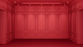 Classic red interior with copy space. Red walls with classical decor. Floor parquet herringbone. 3d rendering royalty free illustration
