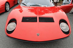 Classic red lamborghini miura sports car front Royalty Free Stock Photo