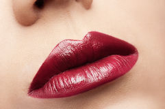 Classic red lips Stock Photo