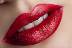 Classic red lips Royalty Free Stock Photos