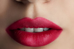 Classic red lips Royalty Free Stock Photography