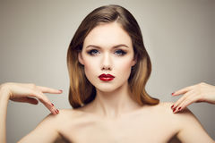 Classic red lips girl Stock Photos