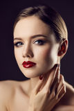 Classic red lips girl Stock Photo