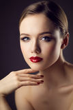 Classic red lips girl Royalty Free Stock Photos