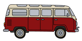 Classic red minibus. Hand drawing of a classic red and white minibus Royalty Free Stock Photos
