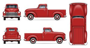 Classic red pickup truck vector mockup. Retro car vector mockup on white background. Isolated red pickup truck view from side, front, back, top. All elements in royalty free illustration
