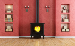 Classic red room with fireplace. With cast iron fireplace and niche - rendering Royalty Free Stock Photos