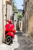 Classic red scooter Stock Photos
