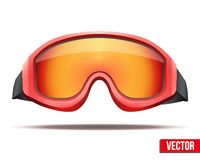 Classic red snowboard ski goggles with colorful Stock Photos