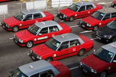 Classic red taxis in Hong Kong Stock Photography