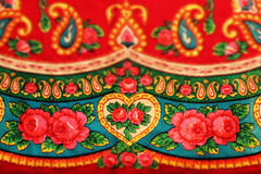 Classic red vintage slavonic folk pattern, tilt shift effect Royalty Free Stock Photos