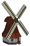 Classic red wooden windmill Royalty Free Stock Photography