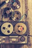 Classic reel-to-reel tape recorder with a few rolls of tape stock images