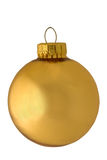 Classic reflective golden christmas ornament. Classic reflective yellow, golden christmas ornament with golden cap isolated on white backgroound royalty free stock photo