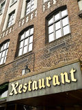 Classic Restaurant. Ancient brick facace of a restaurant in the Bergen Bryggen (Norway Stock Images