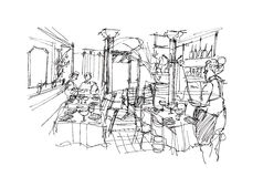 Classic restaurant bistro in Erope hand sketch illustration. Classic restaurant in Erope hand sketch illustration Royalty Free Stock Photography