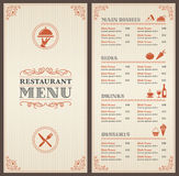 Classic Restaurant Menu Template Royalty Free Stock Photos