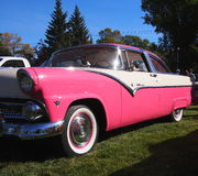 Classic Restored Pink And White Ford Fairlane Royalty Free Stock Images