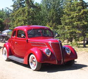 Classic Restored Red Sedan Royalty Free Stock Photography