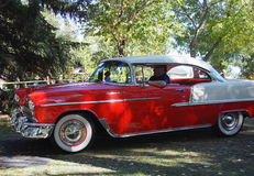 Classic Restored Red And White Chevrolet Bel Air Stock Photo