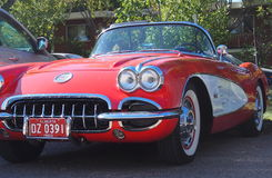 Classic Restored Red And White Corvette Convertible Stock Photography