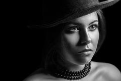 Classic retro beauty portrait. black and white photography Stock Images