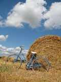 Classic retro bike with hay bales Royalty Free Stock Photography
