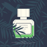Classic retro bottle of perfume on a tropical background. Royalty Free Stock Photos