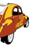 Classic retro car. French red and yellow Citroen 2 cv.  illustration on white background Royalty Free Stock Photography