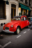 Classic retro car. Classic red Citroen 2CV on the streets of Paris, France Royalty Free Stock Photo