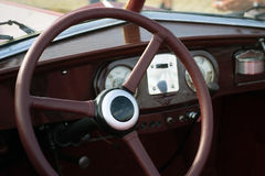 Classic retro car dashboard Stock Images