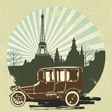Classic retro car with vintage Eiffel Tower Royalty Free Stock Photos