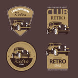 Classic retro cars. Vintage labels set Royalty Free Stock Photo