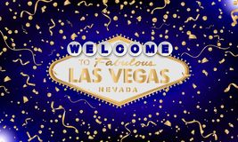 Classic retro gold Welcome to Las Vegas sign on blue background. Happy background. Simple modern vector style royalty free illustration