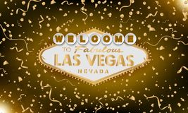 Classic retro gold Welcome to Las Vegas sign on gold background. Happy background. Simple modern vector style vector illustration