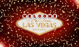 Classic retro gold Welcome to Las Vegas sign on red background. Happy background. Simple modern vector style vector illustration