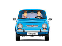 Classic retro illustration fiat 500 650 and passengers. Vector illustration of a classical fiat 500/fiat650 with two passengers/silhouettes. Front view and Royalty Free Stock Photo