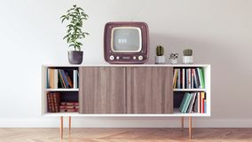 Classic retro interior design of living room 3d Render Stock Photography