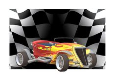 A classic retro race car and a race flag vector illustration