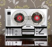 Classic retro reel to reel open 60s vintage music stock images