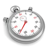 Classic retro silver stopwatch on white background Stock Photo