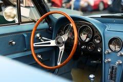 Classic retro  vintage blue car.  Сar interior Stock Photos