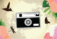 Classic, Retro and Vintage Camera Vector Background Illustration. For many purpose such as print on canvas, clothes, stationary, purse, bag, textile, sticker vector illustration